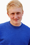 18 ans d'homme de cheveux blonds de portrait d'isolement sur le wh Image stock