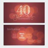 40 ans d'invitation d'anniversaire à l'illustration de vecteur de célébration illustration de vecteur