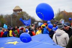 60 ans d'Union européenne, Bucarest, Roumanie Photographie stock libre de droits