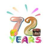 72 ans de conception d'anniversaire pour des cartes de voeux Photo libre de droits