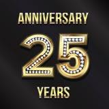 25 ans de design de carte d'anniversaire Conception de vecteur Photo stock