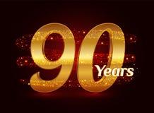 90 ans de l'anniversaire 3d de célébration d'or de logo avec les particules de scintillement éclatantes d'étoile de traînée en sp illustration stock