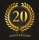 20 ans de label d'or d'anniversaire illustration stock