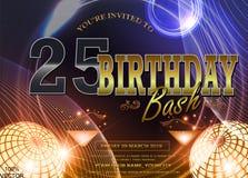 25 ans de logo d'anniversaire avec le fond galactique coloré illustration de vecteur