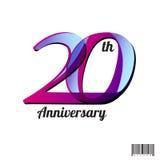 20 ans de logo d'anniversaire et conception de symbole Photos stock