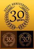 30 ans de signes d'anniversaire avec des guirlandes de laurier illustration de vecteur