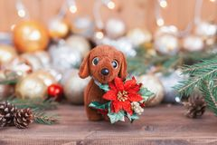 2018 ans du chien, décorations de Noël Images stock