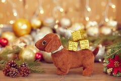2018 ans du chien, décorations de Noël Photos libres de droits