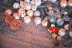 2018 ans du chien, décorations de Noël Photographie stock libre de droits