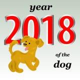 2018 ans du chien jaune dans le calendrier oriental Un gai illustration libre de droits