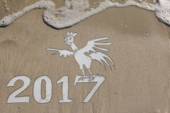 2017 ans du coq sur la plage Photos stock