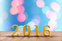2016 ans en bois de perspective avec le mur de bokeh de tache floue et en bois Image stock