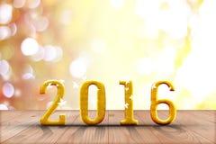 2016 ans en bois de perspective avec le mur de bokeh de tache floue et en bois Photos stock