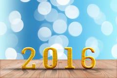 2016 ans en bois de perspective avec le mur de bokeh de tache floue et en bois Photographie stock libre de droits