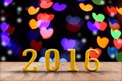2016 ans en bois de perspective avec le mur de bokeh de tache floue et en bois Photo libre de droits