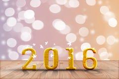2016 ans en bois de perspective avec le mur de bokeh de tache floue et en bois Photographie stock