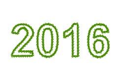 2016 ans faits à partir des feuilles vertes Image libre de droits