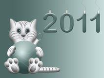 Ans neuf chinois oriental de symbole blanc de chat 2011 Images libres de droits
