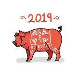 2019 ans peint à la main de l'illustration de vecteur de porc Appartement mignon illustration stock