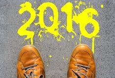 2016 ans regardant en avant Photographie stock libre de droits