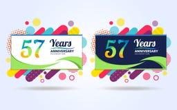 57 ans sautent des ?l?ments de conception moderne d'anniversaire, ?dition color?e, conception de calibre de c?l?bration, concepti illustration stock