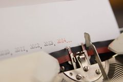 2014 ans sur la machine à écrire Image libre de droits