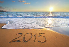 2015 ans sur la mer Photo stock