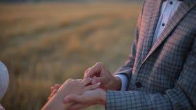 Ansa att sätta en vigselring på fingret för brud` s Bröllopceremoni på solnedgången arkivfilmer