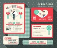 Ansa den bärande designen för den retro inbjudan för bröllop för brudtecknade filmen fastställda Royaltyfria Bilder