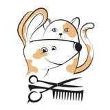 Ansa hundkapplöpning- och kattkonturer stock illustrationer