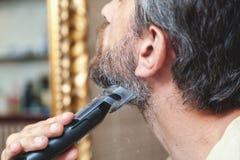 Ansa skägget med den gråa hårbeskärarecloseupen Royaltyfri Fotografi