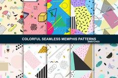 Ansammlung abstrakte nahtlose Muster Retro- Memphis-Art Lizenzfreies Stockbild
