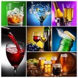 Ansammlung Bilder des alkoholischen Getränks. Lizenzfreie Stockfotografie