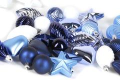 Ansammlung blaue Dekorationen stockfotos
