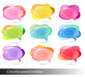Ansammlung bunte Sprache- und Gedankenluftblasen. Stockfoto