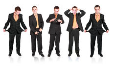 Ansammlung businessmans in der verschiedenen Bedingung. stockfotos