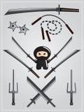 Ansammlung der ninja Waffe Stockbild