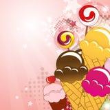 Ansammlung der Süßigkeit, Eiscreme, Cupkuchen und räkeln sich Stockbild