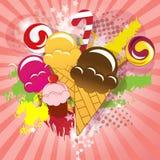 Ansammlung der Süßigkeit, Eiscreme, Cupkuchen und räkeln sich Stockfotos