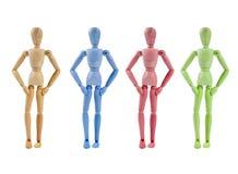 Ansammlung des Künstlermannequins in den verschiedenen Farben Lizenzfreies Stockfoto