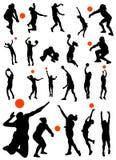 Ansammlung des Volleyballvektors Stockfotos