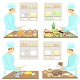 ansammlung Ein junger Mann bereitet Nahrung, Sushi, Fische, Kuchen, Tee, Kaffee zu Der Kerl ist ein Berufskoch Gl?nzendes und gla stock abbildung