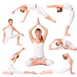 Ansammlung eines übenden Yoga des schönen Mädchens Lizenzfreie Stockbilder