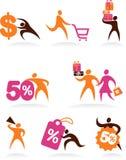 Ansammlung Einkaufenleuteikonen und -zeichen Lizenzfreie Stockfotos