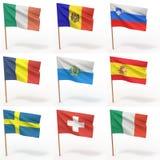 Ansammlung europäische Markierungsfahnen Stockfotos