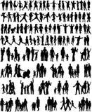 Ansammlung Familien-Schattenbilder lizenzfreie stockfotos