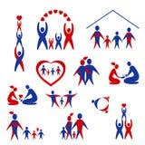 Ansammlung Familienikonen, Zeichen Lizenzfreie Stockbilder