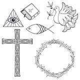 Ansammlung fromme Symbole Stockbilder