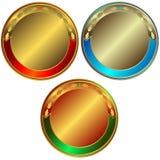 Ansammlung Gold-, silbernen und Bronzemedaillen Stockbild