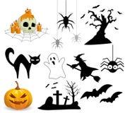 Ansammlung Halloween-Ikonen Stockfotografie